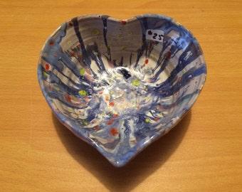 Pottery heart bowl