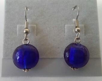 Cobalt Blue Foil Glass Earrings