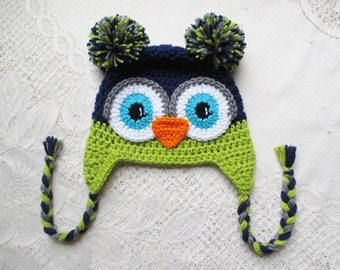 Navy Blue, Apple Green and Grey Crochet Owl Hat - Winter Hat or Photo Prop - Available in Any Size or Color Combination