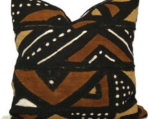 Mud Cloth Pillow, Decorative Pillow Cover Brown and Ocher Geometric African Mud Cloth, Hand made fabric from Mali 20x20 or lumbar pillow