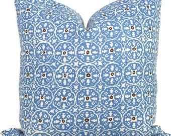 China Seas Nitik II French Blue Quadrille Pillow Cover Square, Eurosham or Lumbar pillow Accent Pillow, Throw Pillow, Toss Pillow
