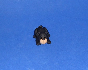 Polymer clay Lying Black Bear