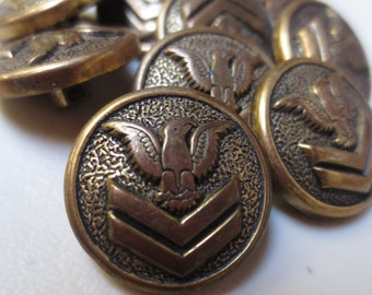"Vintage Military Buttons 3/4 "" Shank Set of 9 Antique Gold 19mm"