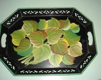 Vintage Pilgrim Art Tole Tray Black Green Hand Painted Leaves