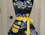 Womens Aprons-The Starry Night Double Skirted Apron