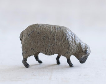 Lead Grazing Sheep - Antique Iron Cast Toy in Grey - Made in England
