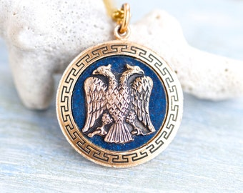 Double Headed Eagle - Medallion Necklace - Souvenir from Cyprus