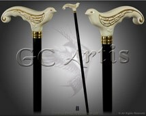 SWALLOW - ELEGANT LADIES walking stick cane natural wood handle carved crafted authors made folk art classic white handle black shaft