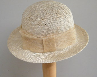 Natural Straw Hat for Women, Elegant summer cloche, organic summer hat for ladies, Israel