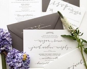 Boho Chic Handwritten Calligraphy Letterpress Wedding Invitation Suite - letterpress and foil - grey wedding invitation