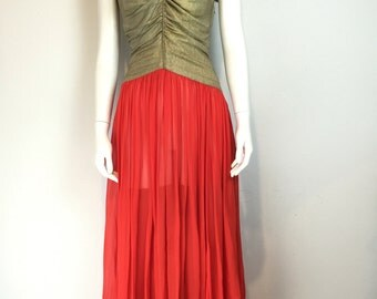 1920s red silk and gold lemé dress