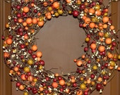 Wreath - Fall Wreath - Autumn Door Decoration - Berry Wreath