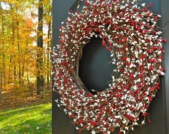 Valentine Wreath - Red Wreath - Holiday Door Decoration -  Door Wreath
