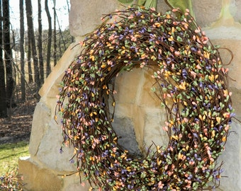 Spring Wreath - Outdoor Wreath - Berry Wreath - Mothers Day Wreath - Multi Color Wreath