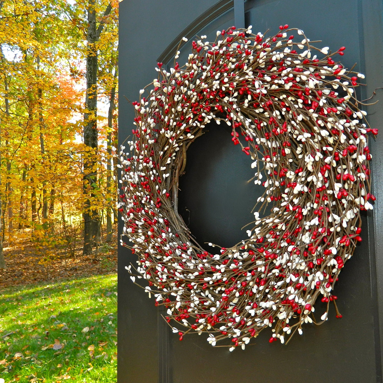 Valentine wreath red wreath holiday door decoration - Awesome christmas wreath with homemade style ...