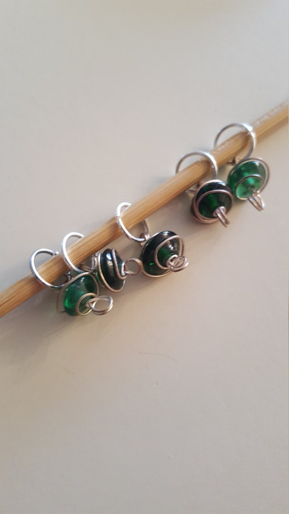 Decorative Knitting Stitch Markers : Small Green Swirl Knitting Stitch Markers from EvidentlyMotley on Etsy Studio