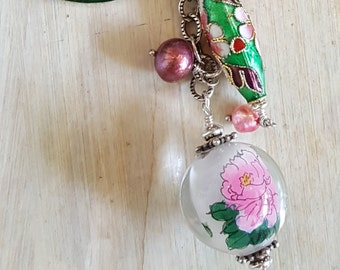 Pink Flower Bohemium Pendant Necklace