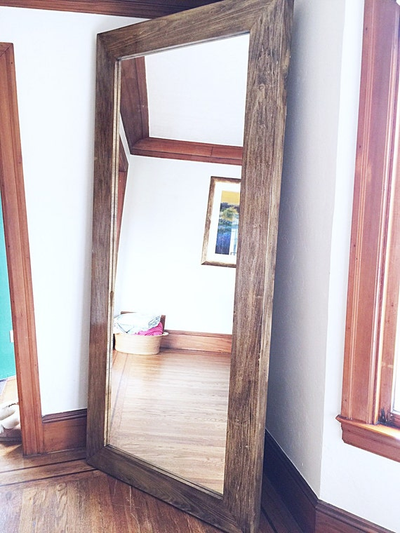 Items similar to x large wooden frame floor mirror on etsy for Wooden mirror frames for crafts