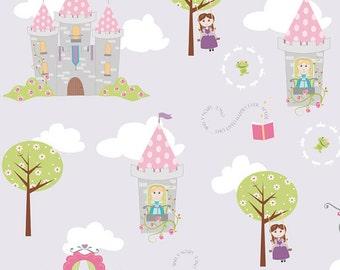04471 - Riley Blake Dream a Wish C4810  Main castles in purple cotton fabric- 1 yard