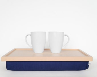 Decorative pillow tray, Stable table, laptop stand or Breakfast serving Tray - light pastel peach with royal blue pillow
