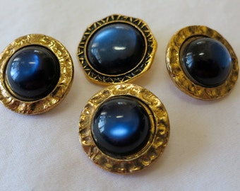 4 Plastic buttons with royal blue moon-glow stones, gems. 3 in round design, 1 with hexagon rim. Shank back, twinkle, fun! HMFR13.6-19.14.