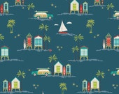 LAMINATED cotton fabric by the yard - Surfing Cabana Blue - Offshore Deena Rutter EXCLUSIVE (aka oilcloth, coated vinyl) shore beach