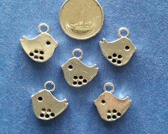 15 Bird Charms Pendants Oxidized Silver Double Sided Lead & Nickel Free 15x15mm for your art or jewelry projects (PHC1007)- ship from Canada