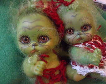 Already made and ready to ship Twin Grin and Grinchette full body dolls ooak baby