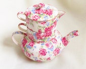 Vintage Royal Winton Grimwades Chintz Stacker Teapot Victorian Rose Pattern 1953
