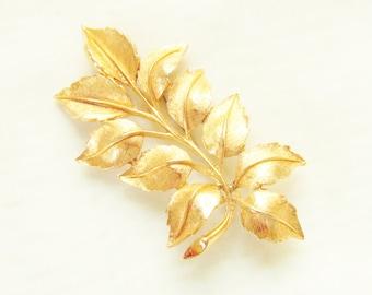 Large Vintage Leaf Branch Brooch signed SPHINX Gold Tone