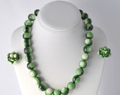 1950s Green Stripe Chunky Necklace Earring Set