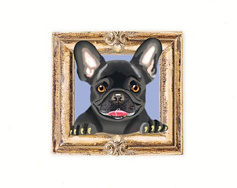 French Bulldog Tiny Art Print - Black - Dog Art Print - Tiny Frenchie in a Frame