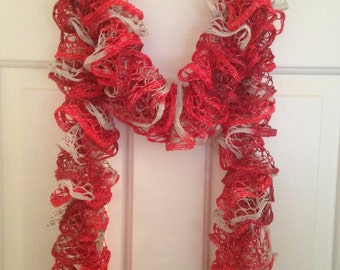Ruffle Scarf, Handmade Scarf, Red Silver Scarf, Secret Santa Gift, Christmas Gift, Gifts for Her, Birthday Gift, Red Scarf