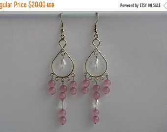 Back from vacation sale - Pink Cats Eye & Clear Crystal Bead Earrings - Item 1612