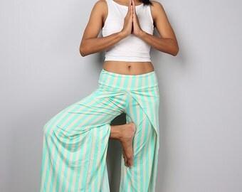 Striped pants / green - cream yoga pants / long striped pants / Split pants : Urban Chic Collection