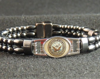 US Navy Double Magnetic Hematite Bracelet