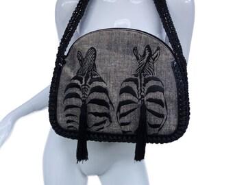 """Vintage Large RODO """"Zebra"""" Handbag with Tassels and Macrame Shoulderstrap"""