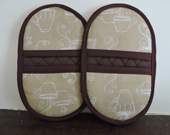 Mini Microwave Mitts-Oven Mitts-Pinchers-White Outline of Coffee Cup on Tan Background w/Brown Trim-Free Shipping