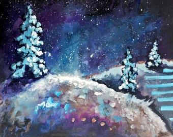 Winter Wonderland Walk Abstract Acrylic Painting on Canvas