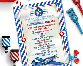 AIRPLANE INVITATION - Personalized Printable Download