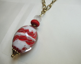 Lampwork Bead Pendant Necklace in Red and White