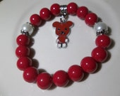 Red Bear Charm-Red Pearls- Beaded Stretch Bracelet  (306)