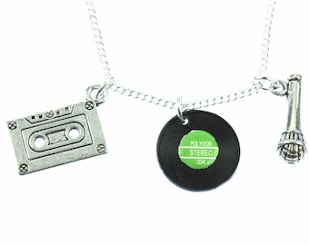 KETTE0014 3 music chain cassette recording microphone necklace of Miniblings 45 cm DJ