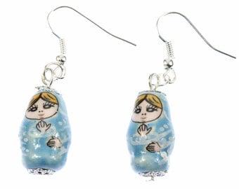 OR00363 Matryoshka earrings earrings Miniblings Babushka Russian doll porcelain blue