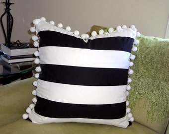 Black & White Horizontal Stripe Pom Pom Fringe  Pillow Cover Pom Pom Pillow Cover Choose Size