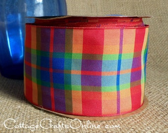 "Wired Ribbon, Plaid 2 1/2"" wide, Orange Blue Purple Green Peach - TWENTY FIVE YARD RoLL - Offray ""Brittany"" Orange Wire Edged Ribbon"