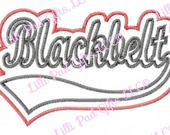 Blackbelt - Swoosh - Double Applique - 5 sizes - Machine Embroidery Design