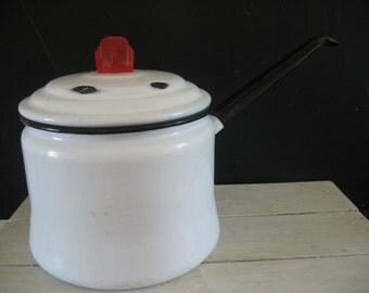 Vintage Enamel Lidded Pot - Art Deco Style Knob