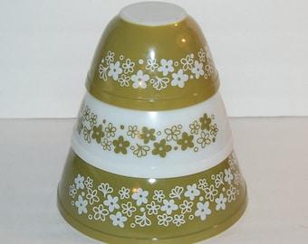 Pyrex Crazy Daisy Mixing Bowl Set 3 Nesting Bowls Corning Spring Blossom 401 402 403