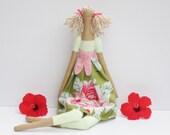 Fabric doll handmade rag doll pink green floral cloth doll art doll cute stuffed doll gift for girls room decor doll birthday gift for girl